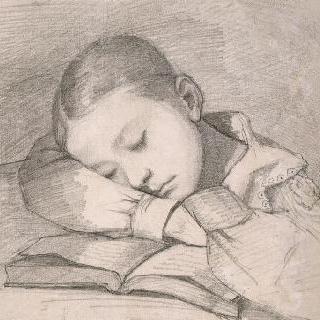 책 위에서 잠이 든 줄리에트 쿠르베의 초상