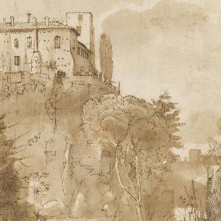 피아 성문 부근의 로마의 오르티 살루스티아니 정원의 전경