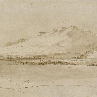 로마 부근 산들에 둘러싸인 평야의 풍경