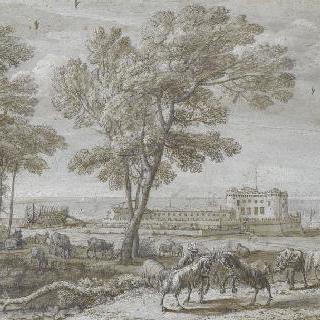오데스칼치 드 팔로 성이 있는 목가적 풍경