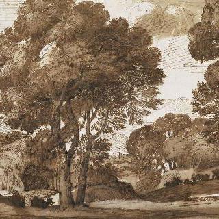 커다란 나무들이 있는 목가적 풍경