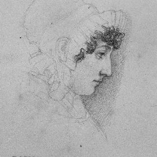 둥근 가두리 장식이 된 모자를 쓴 바르예 부인의 측면 초상