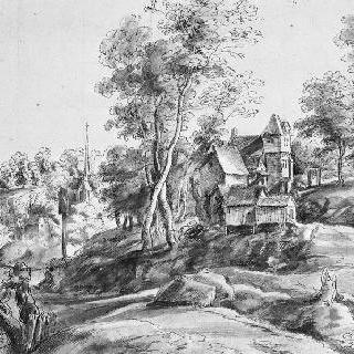 작은 마을의 가옥들이 있는 골짜기가 많은 풍경