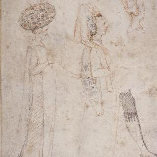 습작 종이 : 15세기 복장의 두 여인들, 두상과 오른쪽 다리