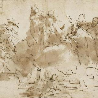 구름 위의 성모와 아기 예수, 성녀와 성자들