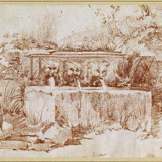 세 개의 기괴한 안면상으로 장식된 고대의 샘