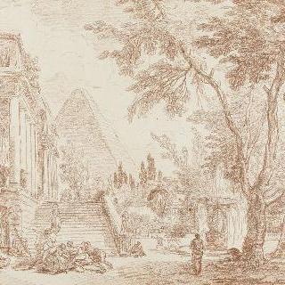 공원 안의 왕궁과 샘