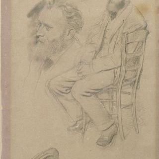 의자에 앉아 있는 에두와르 마네의 초상 ; 모자와 다시 그린 두상