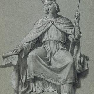 관을 쓴 앉아있는 정면의 왕