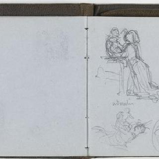 앨범 : 백지 : 아이와 여인 습작과 수사본 주석이 있는 초상