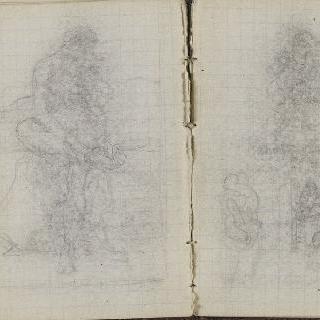 1865-1870년 경의 크로키 화첩 : 서 있는 인물 습작 : 인물 습작 3 점