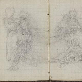 1865-1870년 경의 크로키 화첩 : 두 인물이 있는 습작 2 점