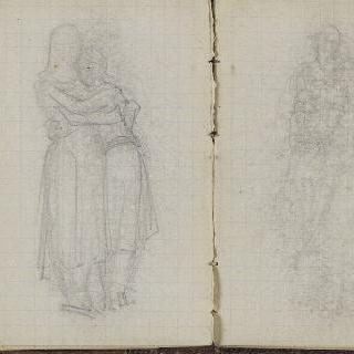 1865-1870년 경의 크로키 화첩 : 포옹하는 두 인물 습작 : 서 있는 두 사람