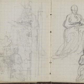 1865-1870년 경의 크로키 화첩 : 풍경 초벌화 : 여인의 습작 2 점