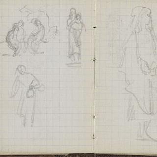 1865-1870년 경의 크로키 화첩 : 풍경 초벌화 : 여인의 습작 2점