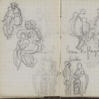 1865-1870년 경의 크로키 화첩 : 앉아있는 인물 습작 2 점