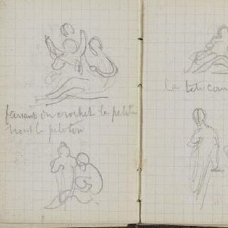 1865-1870년 경의 크로키 화첩 : 두 인물이 있는 습작 2 점과 수사본 주석