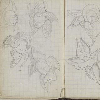 1865-1870년 경의 크로키 화첩 : 아이와 천사 두상의 습작 4 점
