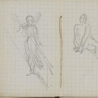 1865-1870년 경의 크로키 화첩 : 서 있는 인물 습작 : 앉아있는 인물 습작