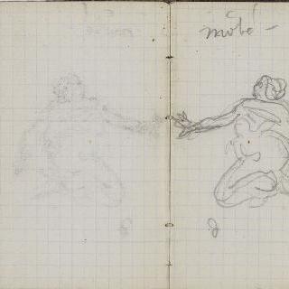 1865-1870년 경의 크로키 화첩 : 여인 습작과 주석 : 인물 습작