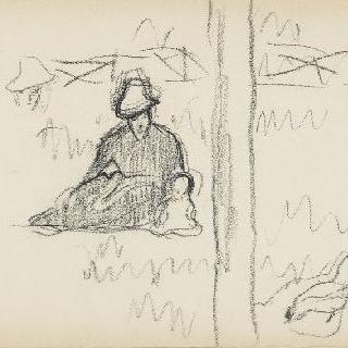 나무 아래 앉아있는 여인과 아이