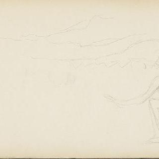 무릎꿇은 측면 인물상이 있는 풍경 크로키