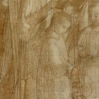 성체 행사자 차림을 한 두 명의 천사와 향로를 준비하고 있는 두 명의 복사 아이