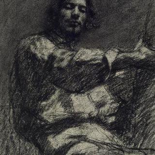 앉아 있는 젊은 남자, 습작, 자화상, 일명 화가 (畵架)에서