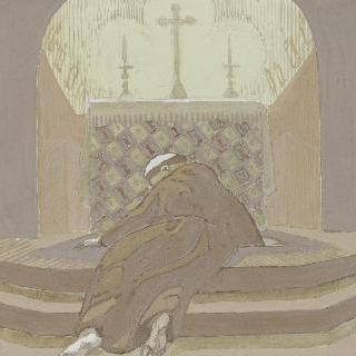 아시스의 성 프랑수아 생에 대한 일화 : 십자가 밑에서 기도하는 수도승