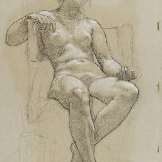 의자에 팔을 기대고 우측 방향으로 앉아있는 나체의 여인