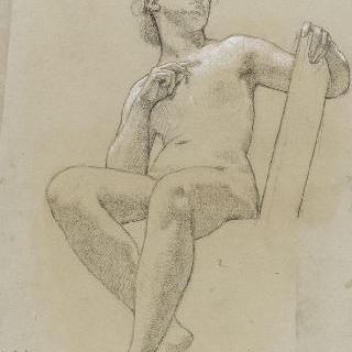 왼손에 기댄채 우측 방향의 하늘을 바라보는 나체의 여인