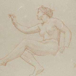 다리를 꼬고 좌측 방향으로 앉아 글을 쓰는 나체의 여인