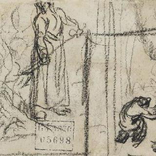 숲에 불지르는 여인과 첫걸음 크로키
