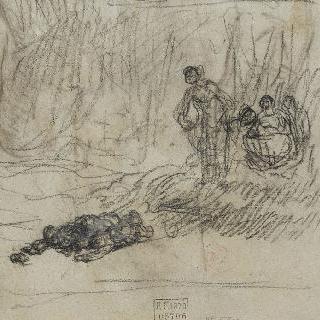 시신을 발견한 숲에서 나오는 세 여인들 습작