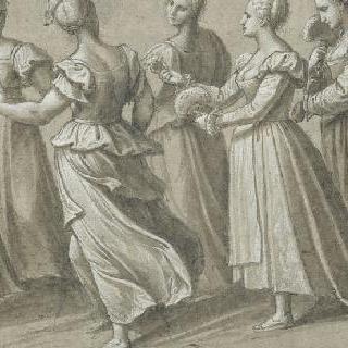 왼쪽을 향해 걷는 여섯 명의 여인들 중 부채를 든 두 명의 여인 이미지