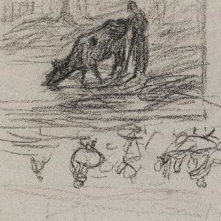 소에게 물을 주는 여인 크로키와 늪 부근의 거위들 습작