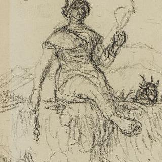 실잣는 여인, 오베르뉴의 염소지기 여인 크로키