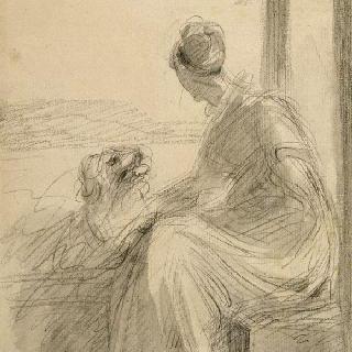 풍경속에서 몸을 돌리고 난간 위에 앉아 있는 젊은 여자