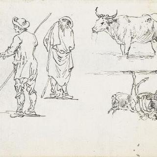 농부들과 당나귀, 소 습작
