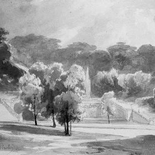 보 르 비콩트 성 공원의 큰 폭포 정경