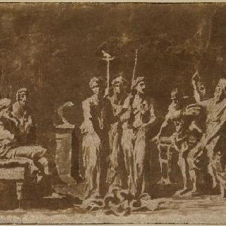 아론의 지팡이를 뱀으로 변신시킨 모세