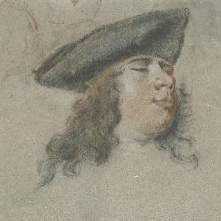 모자를 쓴 젊은 남자의 두상