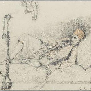 수연통을 피는 이집트인