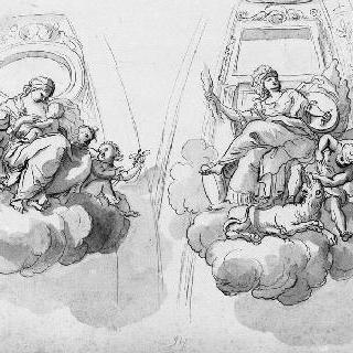 절제의 여신과 정의의 여신의 우의화가 있는 둥근 지붕의 두 개의 일부분