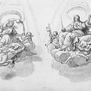 자비의 여신과 힘의 여신의 우의화가 있는 둥근 지붕의 두 개의 일부분