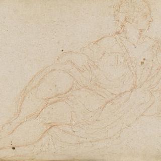 좌측 방향으로 누워있는 여인, 우측 측면 두상