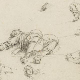 죽은 병사, 전투하는 세 병사들사의 반신상, 검을 잡은 세 개의 손