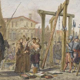 1547년 이수아르에서 교수형과 화형에 처해지는 이교도 장 브뤼지에르