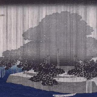 카라사키의 저녁 비, 시리즈 : 오미 지방의 여덟 정경