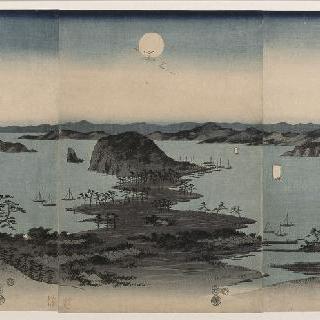 카나자와 여덟 명소 정경, 저녁, 달